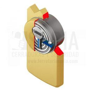 Escudo de alta seguridad Disec LG280EZC Rok para la protección del conjunto de cierre formado por la cerradura y el cilindro de la puerta. Fabricado y diseñado con tecnología ROK, acero de Tungsteno y pasadores de vídia diamantada de alta seguridad y con un alto nivel de resistencia. Conseguir un grado alto de resistencia fisica contra ataques de violencia como el taladro, el fresado, la extraccíon o la rotura del puentees necesario proteger el cilindro o bombillo con un escudo de seguridad.