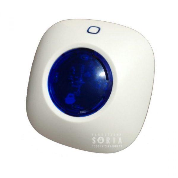 Sirena enchufable con batería que puede actuar como alarma. Incluye función de detección de inhibición de señal inalámbrica
