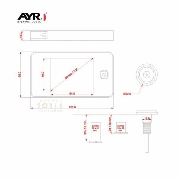 Mirilla digital 752 AYR medidas