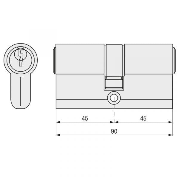 Cilindro TESA T-5 Leva Larga 5030 45-45 Latón
