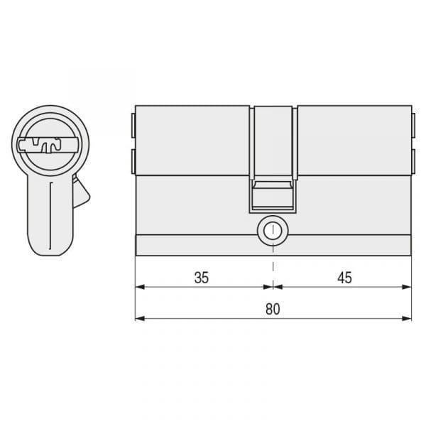Cilindro TESA T80 Leva Larga T855 35-45 Latón