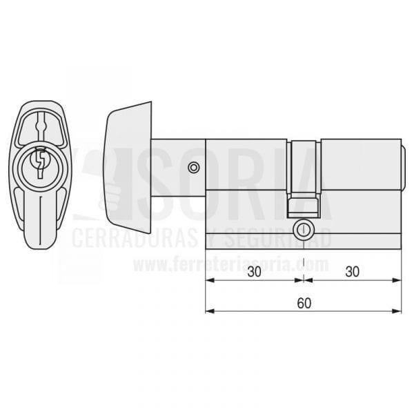 Cilindro TESA TE-5 Pomo Leva Larga 503B 30-30 Latón