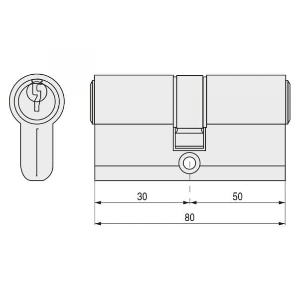 Cilindro TESA T-5 Leva Larga 5030 30-50 Niquel
