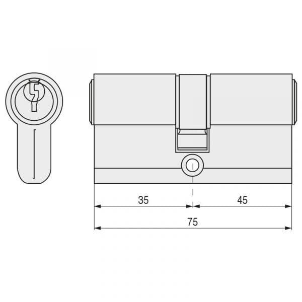 Cilindro TESA T-5 Leva Larga 5030 35-45 Niquel