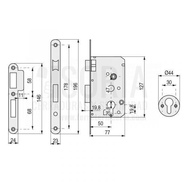 Cerradura TESA 2010 PR 50HN Sin Cilindro para carpintería de madera 1