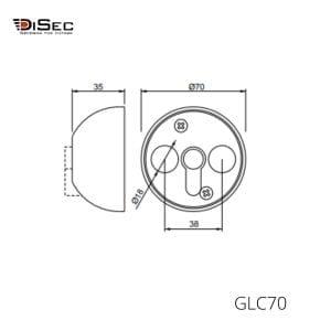 Cierre de seguridad puerta cristal europerfil GLC70 DISEC